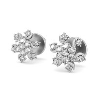 Designer Earrings 0.33 ct Diamond Natural Certified Solid Gold Studs