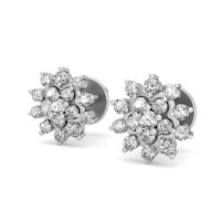 Gold Earrings 0.51 ct Diamond Designer Beautiful Studs