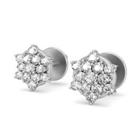 Designer Earrings 0.41 ct Diamond Natural Certified Solid Gold Studs