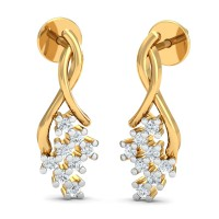 Diamond Earrings 0.16 Ct Natural Certified Solid Gold Workwear