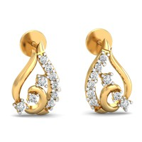 Gold Earrings 0.24 Ct Natural Certified Diamond Office Wear