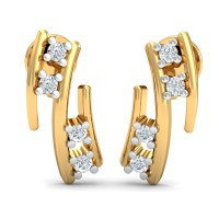 Diamond and Gold Earrings 0.12 Ct Natural Certified Festive