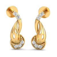 Gold Earrings 0.1 Ct Natural Certified Diamond Party