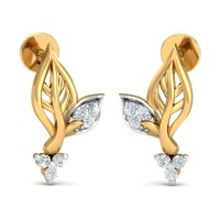 Designer Earrings 0.14 Ct Natural Certified Diamond Solid Gold Party