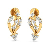 Diamond and Gold Earrings 0.2 Ct Natural Certified Workwear