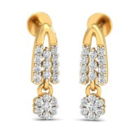 Gold Diamond Earrings 0.54 Ct Natural Certified Office Wear