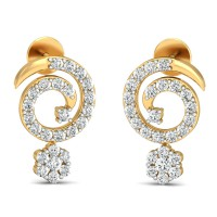 Designer Earrings 0.58 Ct Natural Certified Diamond Solid Gold Office Wear