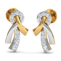 Gold Earrings 0.13 Ct Natural Certified Diamond Solid Gold Weekend