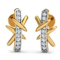 Gold Diamond Earrings 0.1 Ct Natural Certified Office Wear