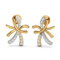 Diamond and Gold Earrings 0.14 Ct Natural Certified Party