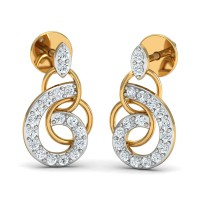 Diamond Earrings 0.18 Ct Natural Certified Solid Gold Workwear