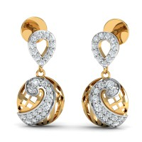 Designer Earrings 0.2 Ct Natural Certified Diamond Solid Gold Office Wear