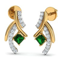 Diamond and Gold Earrings 0.12 Ct Natural Certified Emerald Gold Festive