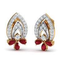 Diamond Earrings 0.24 Ct Natural Certified Solid Gold Ruby Special Occasion