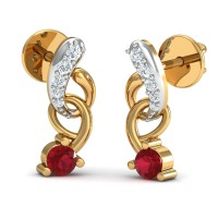 Gold Earrings 0.15 Ct Natural Certified Diamond Ruby Party