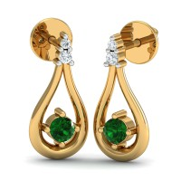 Gold Diamond Earrings 0.13 Ct Natural Certified Emerald Workwear