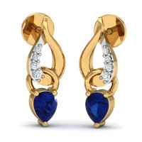Diamond Earrings for Women 0.04 Ct Natural Certified Solid Gold Blue Sapphire Vacation