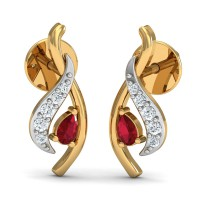 Designer Earrings 0.05 Ct Natural Certified Diamond Solid Gold Ruby Everyday