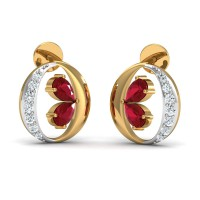 Diamond Earrings 0.15 Ct Natural Certified Solid Gold Ruby Weekend