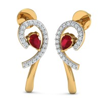 Diamond Earrings for Women 0.1 Ct Natural Certifed Solid Gold Ruby Special Occasion