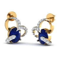 Designer Earrings 0.17 Ct Natural Certified Diamond Solid Gold Blue Sapphire Party