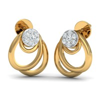 Gold Earrings 0.11 Ct Natural Certified Diamond Everyday