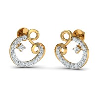 Gold Diamond Earrings 0.27 Ct Natural Certified Office Wear