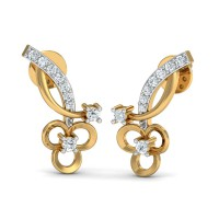 Diamond and Gold Earrings 0.14 Ct Natural Certified Festive
