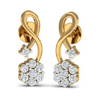 Gold Earrings 0.29 Ct Natural Certified Diamond Party