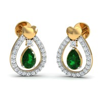 Diamond Earrings for Women 0.24 Ct Natural Certified Solid Gold Emerald Vacation
