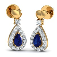 Designer Earrings 0.19 Ct Natural Certified Solid Gold Blue Sapphire Everyday