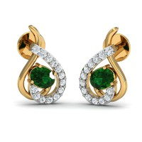 Gold Earrings 0.12 Ct Natural Certified Diamond Emerald Office Wear