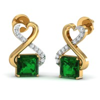 Gold Diamond Earrings 0.08 Ct Natural Certified Emerald Festive