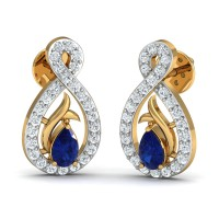 Diamond Earrings for Women 0.21 Ct Natural Certified Solid Gold Blue Sapphire Special Occasion