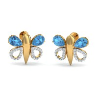 Designer Earrings 0.29 Ct Natural Certified Diamond Solid Gold Blue Topaz Party