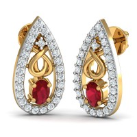 Diamond Earrings 0.26 Ct Natural Certified Solid Gold Ruby Vacation