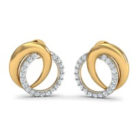 Gold Diamond Earrings 0.2 Ct Natural Certified Office Wear