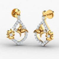 Diamond and Gold Earrings 0.27 Ct Natural Certified Festive