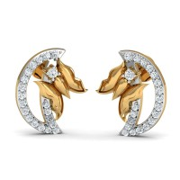 Gold Earrings 0.28 Ct Natural Certified Diamond Designer Party