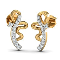 Gold Earrings 0.11 Ct Natural Certified Diamond Office Wear