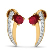 Diamond and Gold Earrings 0.11 Ct Natural Certified Ruby Workwear