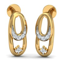 Gold Diamond Earrings 0.08 Ct Natural Certified Office Wear
