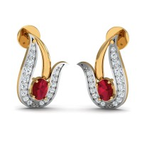 Diamond Earrings for Women 0.18 Ct Natural Certified Ruby Weekend