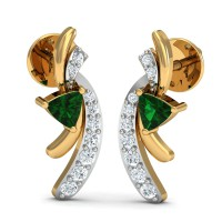 Designer Earrings 0.11 Ct Natural Certified Diamond Solid Gold Emerald Office Wear