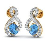 Diamond and Gold Earrings 0.24 Ct Natural Certified Blue Topaz Festive