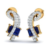 Diamond Earrings 0.17 Ct Natural Certified Solid Gold Blue Sapphire Special Occasion