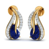 Gold Earrings 0.14 Ct Natural Certified Diamond Blue Sapphire Party