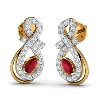 Gold Diamond Earrings 0.26 Ct Natural Certified Ruby Workwear
