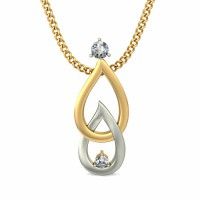 Diamond Pendant Charms 0.05 ct Diamond Solid 2 Tone Gold Natural Certified