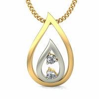 Diamond Pendant Necklace 0.05 ct Solid 2 Tone Gold Natural Certified
